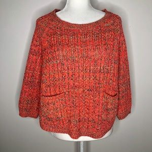 Moth / Anthropologie colorful cropped sweater, L